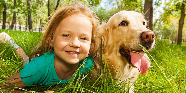 Morgan lounges in the grass with her golden retriever, Bailey.