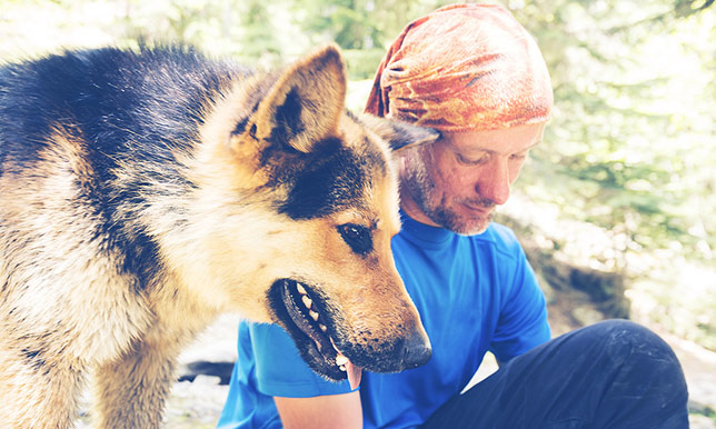 A man hikes with his German shepherd.
