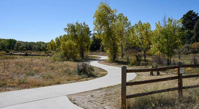 The Meadows entrance to the East Plum Creek Trail.