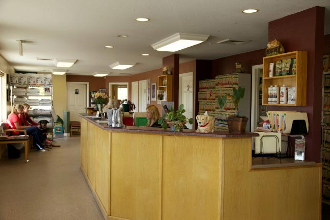 Cherished Companions Animal Clinic welcome desk and waiting room